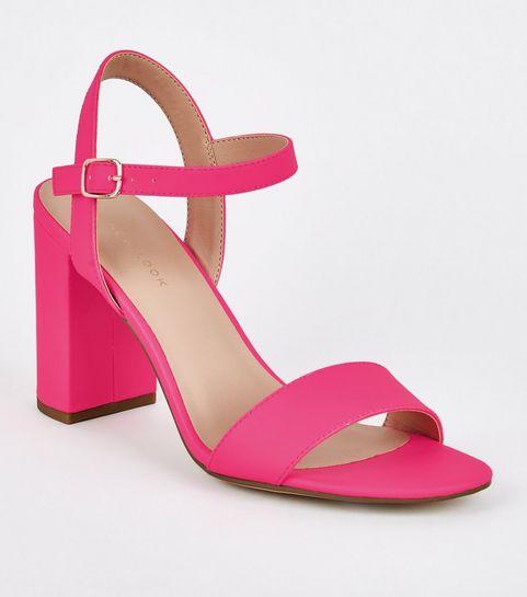307c65bb833 ... Pink Neon Patent Two Part Block Heels ...