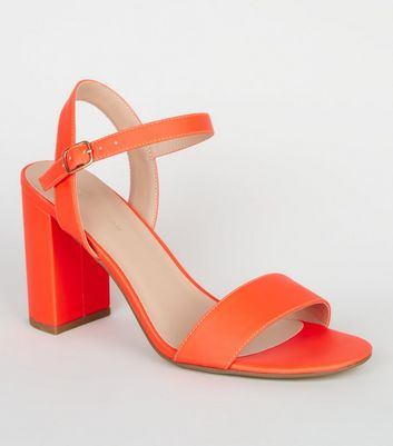 Bright Orange Neon Two Part Block Heels