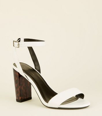 White Faux Tortoiseshell Block Heeled Sandals