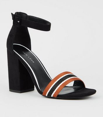 Black Stripe Strap Block Heel Sandals