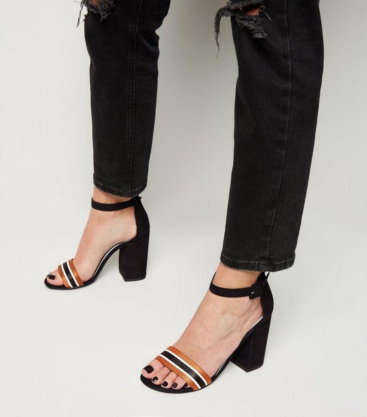 c13cb1d62d4 ... Black Stripe Strap Block Heel Sandals. ×. ×. ×. Shop the look