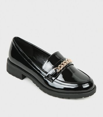 Girls Black Patent Chain Strap Loafers