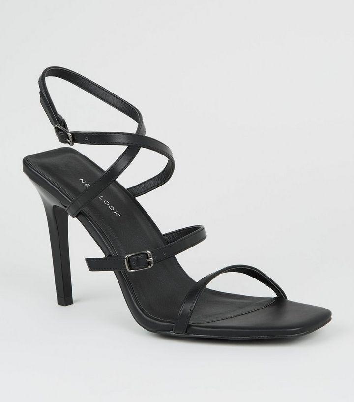 b1b209eb3d96ac Schwarze High Heels mit Riemchen und eckigem Stiletto-Absatz