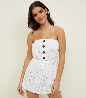 White Broderie Bandeau Playsuit