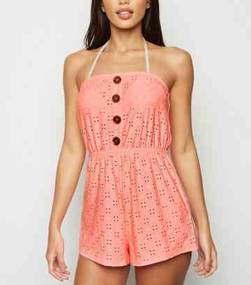 Coral Broderie Bandeau Playsuit