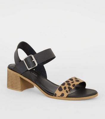 Brown Animal Print Strap Low Heel Sandals