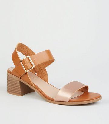 Tan Leather-Look Low Block Heel Sandals