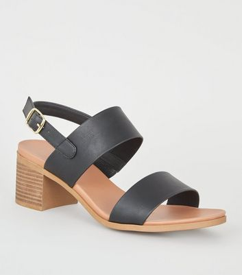 Black Leather-Look Block Heel Footbed Sandals