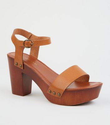 Tan 2 Part Wood Platform Block Heels