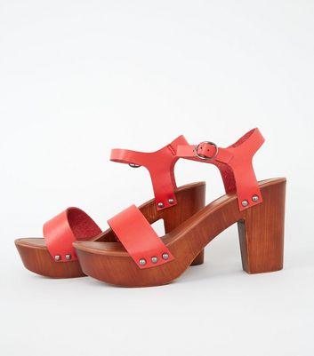 c9575ce7763 Red 2 Part Wood Platform Block Heels New Look