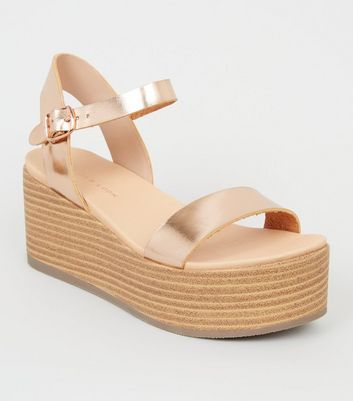 Rose Gold Leather-Look Flatform Footbed Sandals