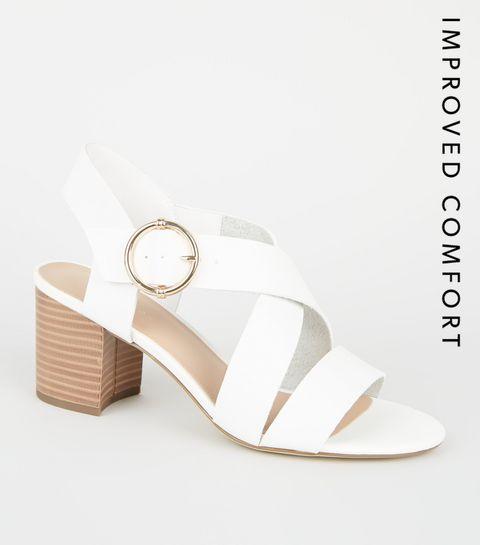 e4ffd0249d9d ... White Leather-Look Cross Strap Block Heels ...