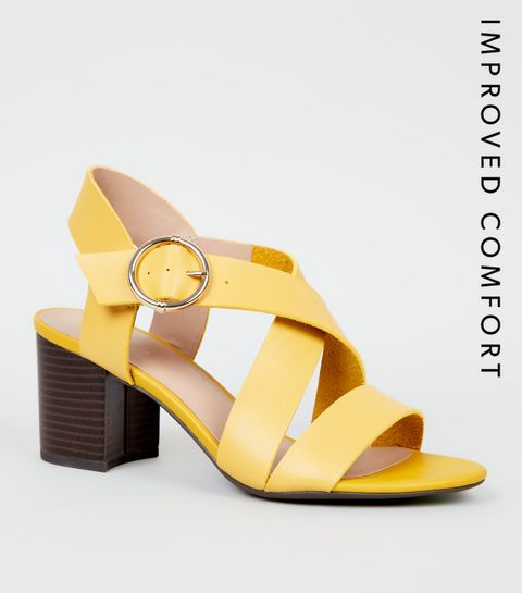 c74cbb82e ... Yellow Leather-Look Cross Strap Block Heels ...