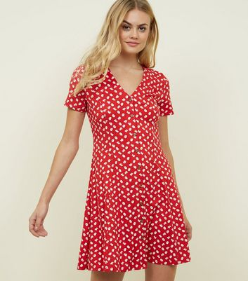 Red Floral Soft Touch Button Front Dress