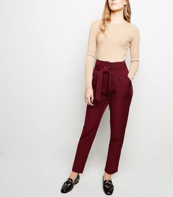 Petite Burgundy Tie Waist Tapered Trousers