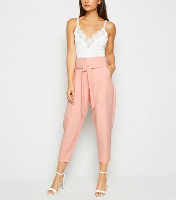 Petite Mid Pink Tie Waist Tapered Trousers