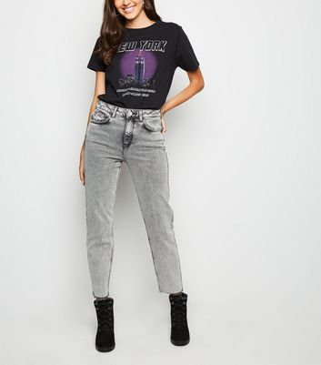 Dark Grey Acid Wash Tori Mom Jeans