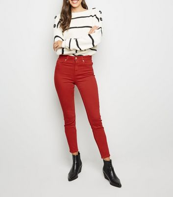 Red High Waist 'Lift & Shape' Skinny Jeans