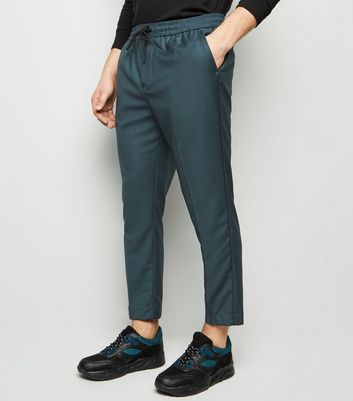Teal Piped Slim Crop Pull On Trousers