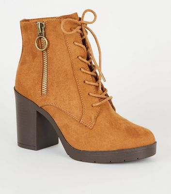 Wide Fit Tan Ring Zip Lace Up Heeled Boots