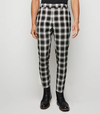 Black Check Print Slim Crop Trousers