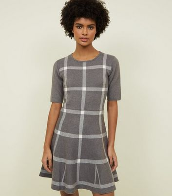 Apricot Grey Check Fine Knit Skater Dress
