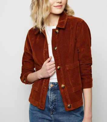 Tan Patch Pocket Corduroy Jacket by New Look