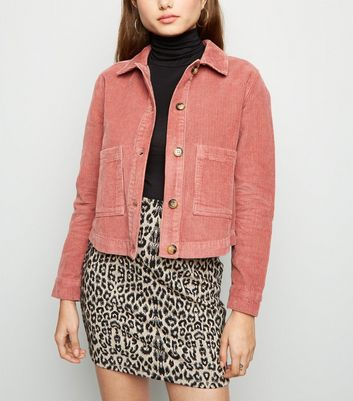 Pink Patch Pocket Corduroy Jacket