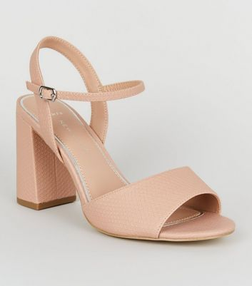 Wide Fit Nude Faux Snake Block Heels