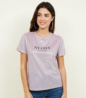 Mid Pink Glitter New York Slogan T-Shirt