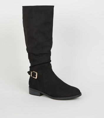 Wide Fit Black Buckle Side Slouch Knee High Boots