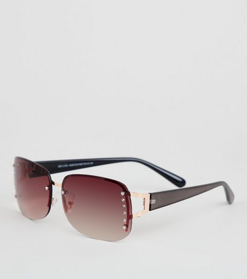 34976ba6659e Brown Diamanté Rimless Sunglasses · Brown Diamanté Rimless Sunglasses ...
