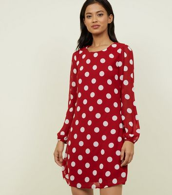 Blue Vanilla Red Spot Print Swing Dress