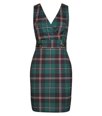 Cameo Rose Green Check Pinafore Dress New Look