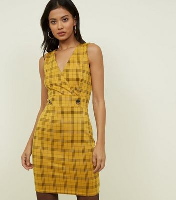 Cameo Rose Mustard Check Pinafore Dress