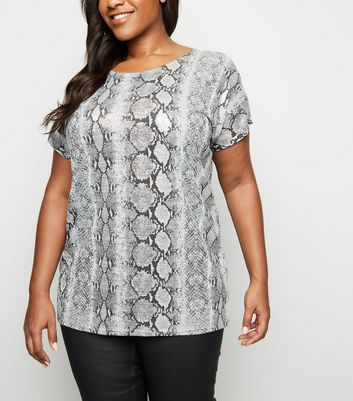 Curves Grey Metallic Snake Print Fine Knit Top