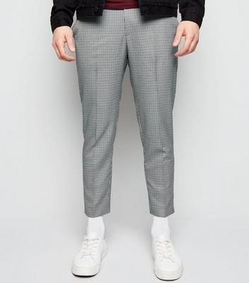 Black Houndstooth Check Pull-On Trousers