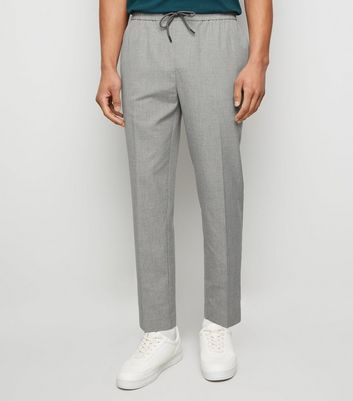 Pale Grey Pinstripe Slim Crop Trousers