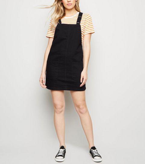 00de82d8ca9 ... Black Buckle Denim Pinafore Dress ...