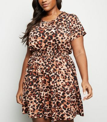 Curves Leopard Print Shirred Waist Dress