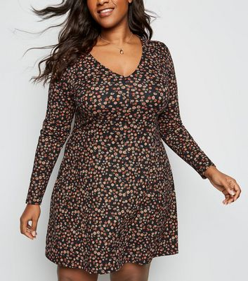 Curves Black Floral Long Sleeve Soft Touch Dress