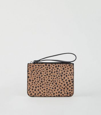 Brown Cheetah Print Wrist Strap Pouch