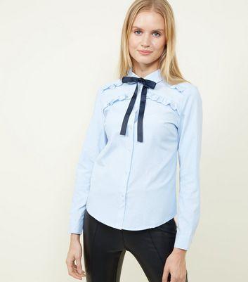 Brave Soul Pale Blue Tie Neck Shirt New Look