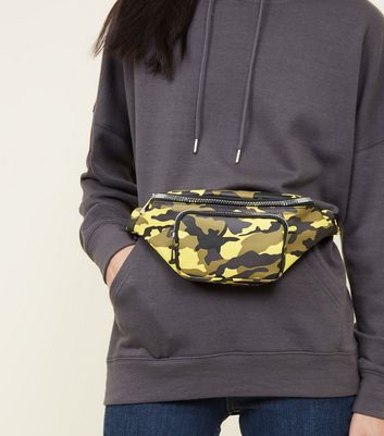 Yellow Camo Print Bum Bag