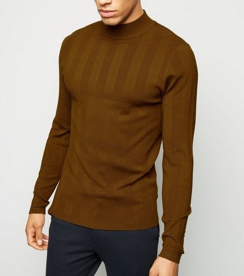 f8af74d7331a2c ... Rust Long Sleeve Muscle Fit Jumper ...