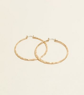 Gold Fine Beaten Hoop Earrings