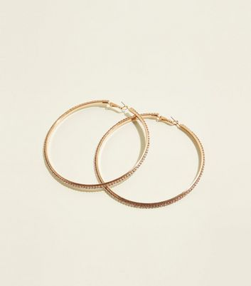 Gold Diamanté Large Hoop Earrings