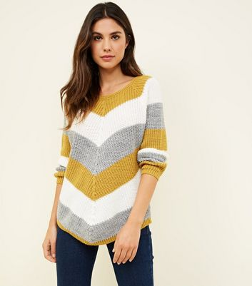 Cameo Rose Mustard Chevron Stripe Jumper