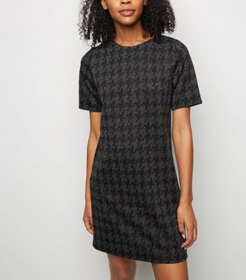 Grey Houndstooth Jacquard Tunic Dress