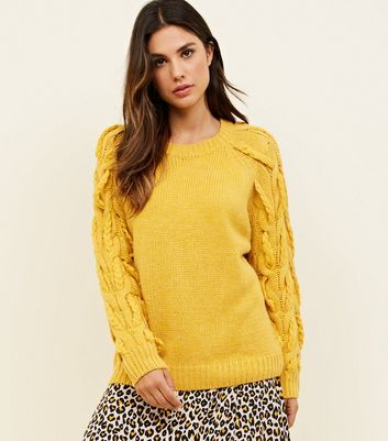 Cameo Rose Mustard Plait Sleeve Jumper